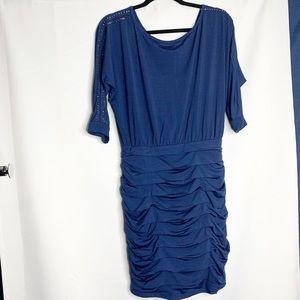 New nikibini blue studded ruched blue L dress